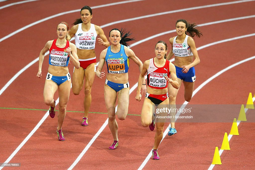 Yekaterina Poistogova of Russia, Nataliya Lupu of Ukraine and Seline Buchel of Switzerland compete in the Women's 800 metres Final during day three of the 2015 European Athletics Indoor Championships at O2 Arena on March 8, 2015 in Prague, Czech Republic.