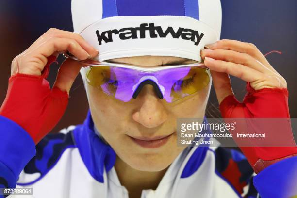 Yekaterina Shikhova of Russia gets ready to compete in the Womens 1000m race on day three during the ISU World Cup Speed Skating held at Thialf on...