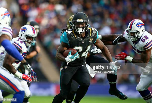 Yeldon of Jacksonville Jaguars runs during the NFL match between Jacksonville Jaguars and Buffalo Bills at Wembley Stadium on October 25 2015 in...