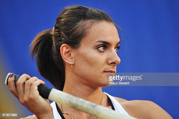 of Russia prepares to compete during the IAAF Golden Gala at the Stadio Olimpico on July 11 2008 in Rome Italy