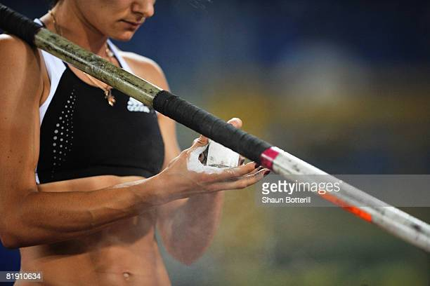 Yelena Isinbaeva of Russia prepares to compete during the IAAF Golden Gala at the Stadio Olimpico on July 11 2008 in Rome Italy