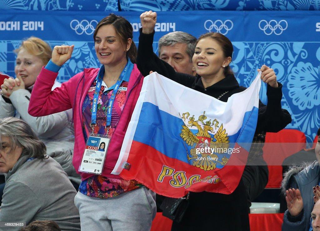 Yelena Isinbayeva and Alina Kabayeva attend the Short Track events on day 3 of the Sochi 2014 Winter Olympics at Iceberg Skating Palace on February 10, 2014 in Sochi, Russia.