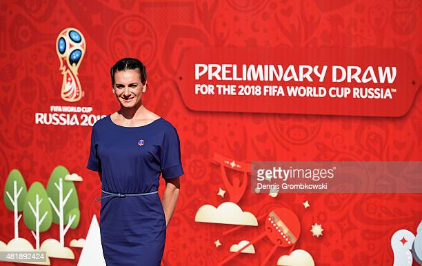 Yelena Isinbayeva attends the Preliminary Draw of the 2018 FIFA World Cup in Russia at The Konstantin Palace on July 25 2015 in Saint Petersburg...