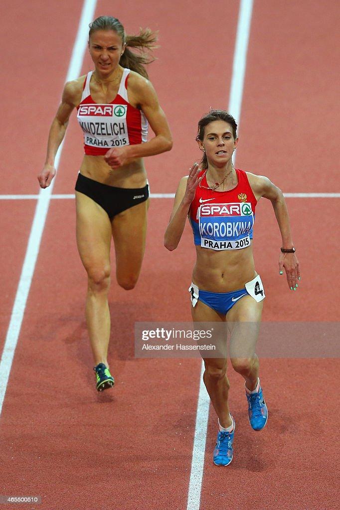 Yelena Korobkina of Russia leads Sviatlana Kudzelich of Belarus to win the Women's 3000 metres Final during day two of the 2015 European Athletics...