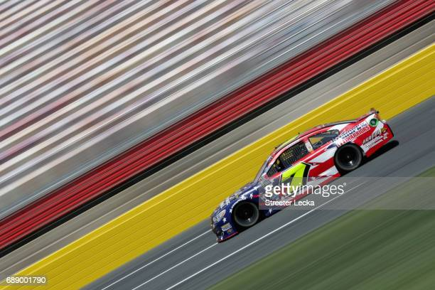 Yeley driver of the AccellConstInc/HopeForTheWarriors Chev drives during practice for the Monster Energy NASCAR Series CocaCola 600 at Charlotte...