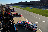 Yeley driver of the Burger King/Dr Pepper Toyota sits on pit road during qualifying for the NASCAR Sprint Cup Series GEICO 500 at Talladega...