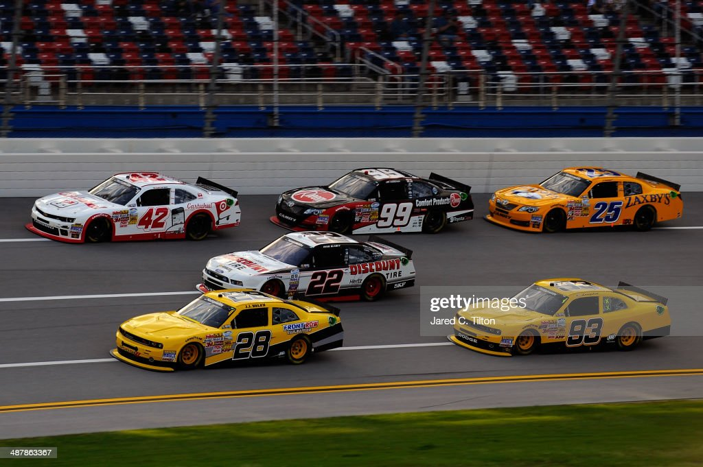Yeley driver of the JGL Racing Dodge leads a pack of cars during qualifying for the NASCAR Nationwide Series Aaron's 312 at Talladega Superspeedway...