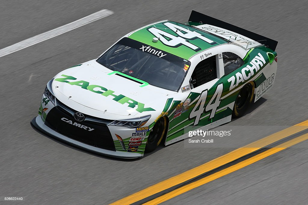 JJ Yeley, driver of the #44 Zachry Toyota, drives during qualifying for the NASCAR XFINITY Series Sparks Energy 300 at Talladega Superspeedway on April 30, 2016 in Talladega, Alabama.