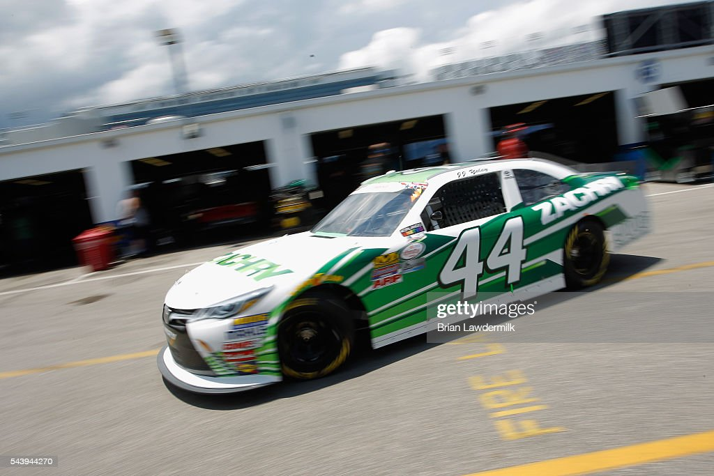 JJ Yeley, driver of the #44 Zachry Toyota, drives through the garage area during practice for the NASCAR XFINITY Series Subway Firecracker 250 at Daytona International Speedway on June 30, 2016 in Daytona Beach, Florida.