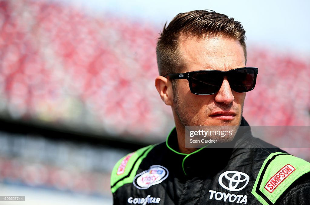 JJ Yeley, driver of the #44 Zachry Toyota, stands on the grid during qualifying for the NASCAR XFINITY Series Sparks Energy 300 at Talladega Superspeedway on April 30, 2016 in Talladega, Alabama.