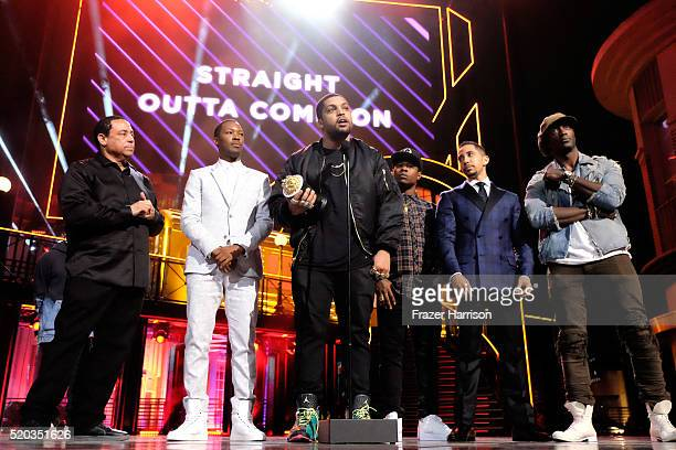 DJ Yella actors Corey Hawkins O'Shea Jackson Jr Jason Mitchell Neil Brown Jr and Aldis Hodge accept the award for Best True Story onstage during the...