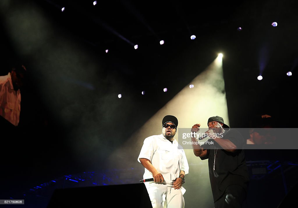 DJ Yella (L) and rapper Ice Cube perform onstage during day 2 of the 2016 Coachella Valley Music & Arts Festival Weekend 1 at the Empire Polo Club on April 16, 2016 in Indio, California.