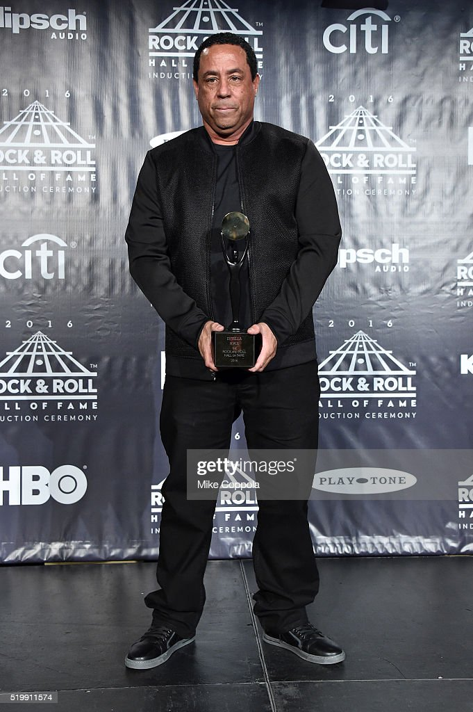 DJ Yella poses in the press room at the 31st Annual Rock And Roll Hall Of Fame Induction Ceremony at Barclays Center of Brooklyn on April 8, 2016 in New York City.