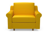 Yellow 3d armchair on white background