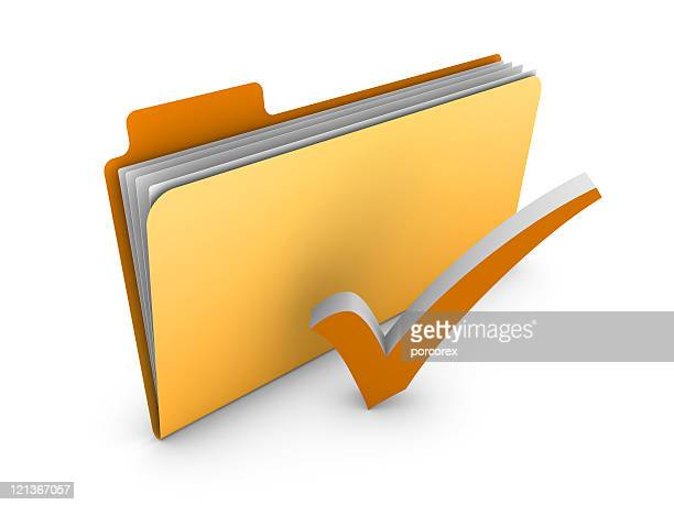 Yellow 3D Folder with Check Mark