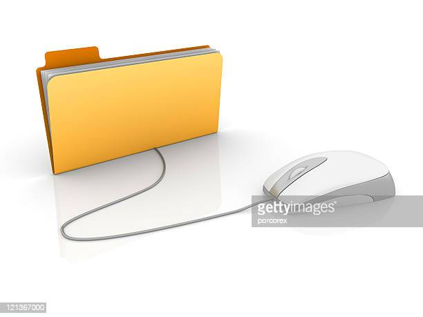 Yellow 3D Folder with Computer Mouse
