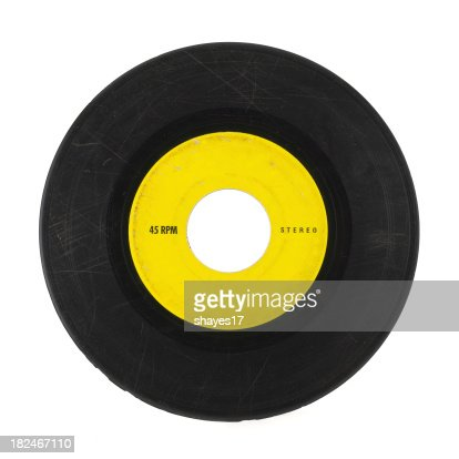 Yellow and black 45 music record with scratches