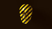 Yellow and Black Chevron Hazard Pattern Skull and Jaw Front 3d illustration