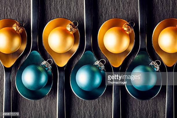 Jaune et bleu de Noël décoration Spoons-décorations