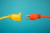 Yellow and Orange electric plug