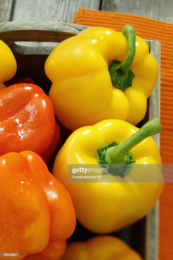 Yellow and orange peppers, close up