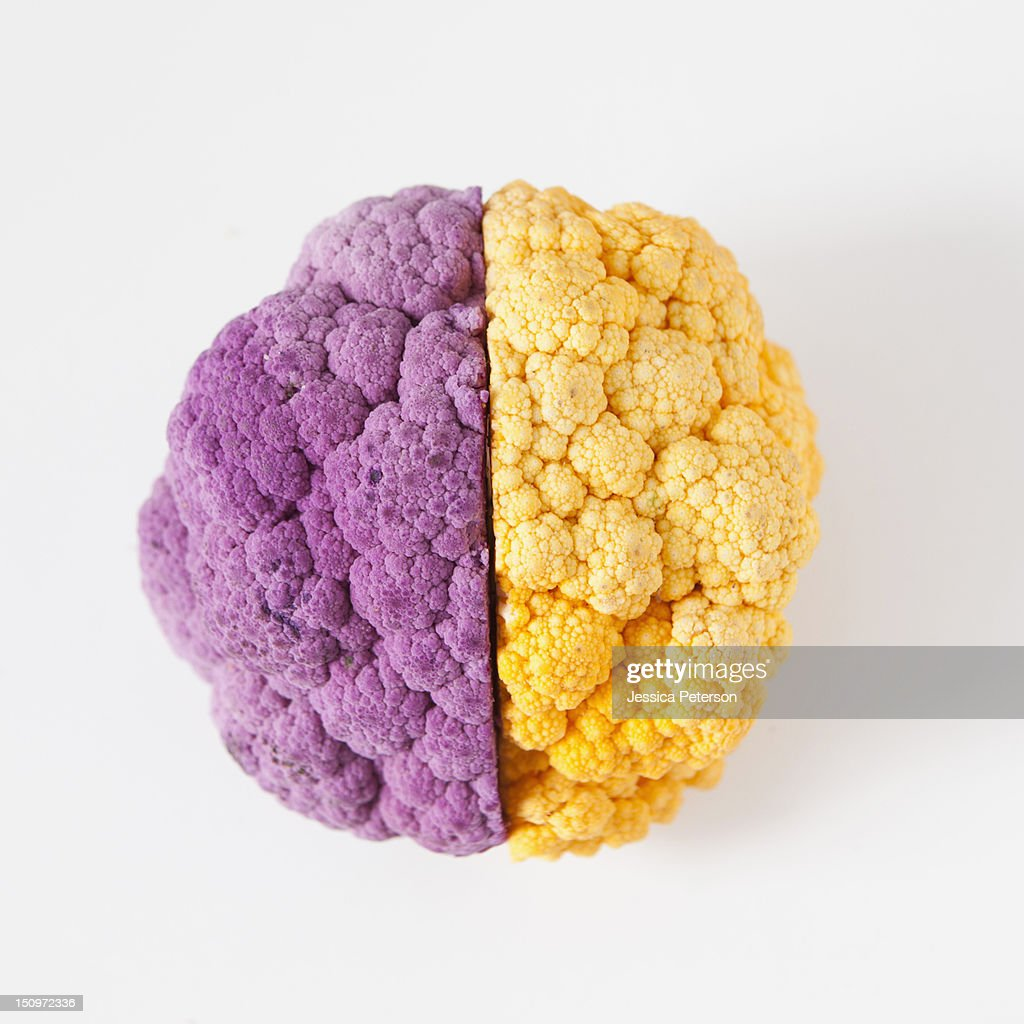 Yellow and purple cauliflower, studio shot