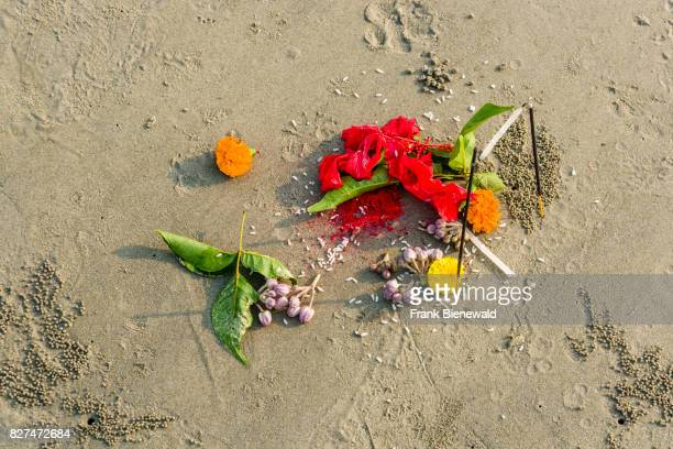 Yellow and red flowers as a religious offering on the beach of Ganga Sagar