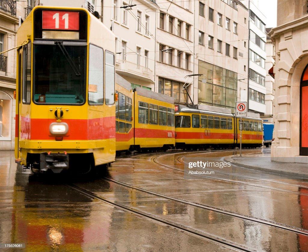 Yellow and Red Tram Basel Switzerland