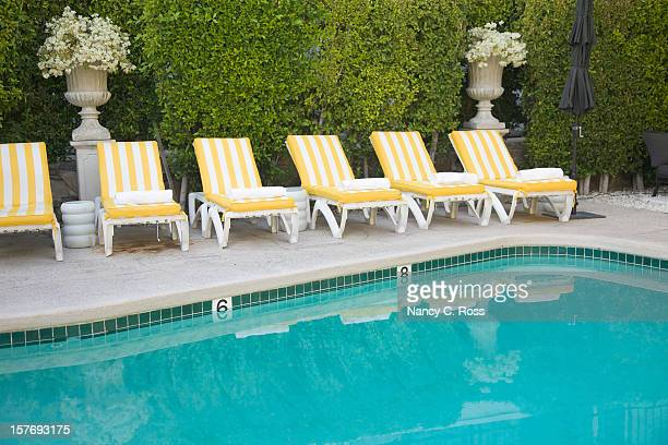 Yellow and White Striped Pool Furniture, Leisure, Summer, Relaxation