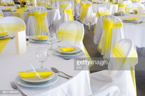 Yellow White Wedding Decorations: Yellow and white wedding table ...