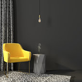 Bright yellow chair on the golden legs in a gray interior