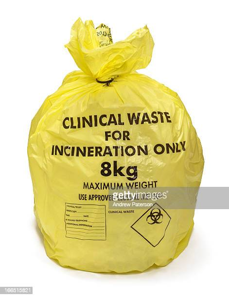 Yellow bag of hospital clinical waste