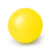 Yellow ball isolated on a White background with clipping path