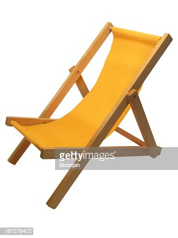 Yellow beach chair isolated on white