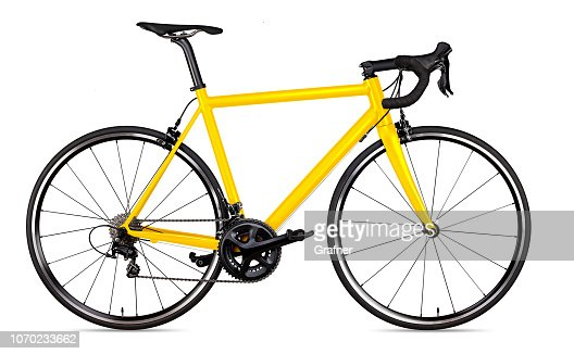 yellow black racing sport road bike bicycle racer isolated : Stock Photo