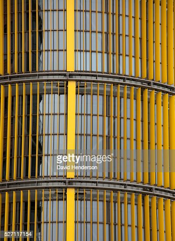 Yellow blinds on the exterior of a skyscraper : ストックフォト