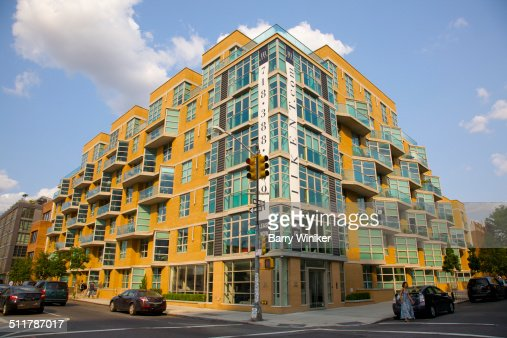 Apartment Building Brooklyn yellow brick and glass brooklyn apartment building stock photo