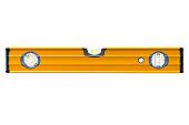 Tools: yellow bubble level, isolated on white background
