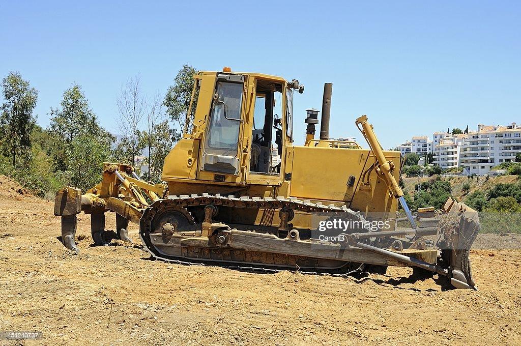 Yellow bulldozer, Spain. : Stock Photo