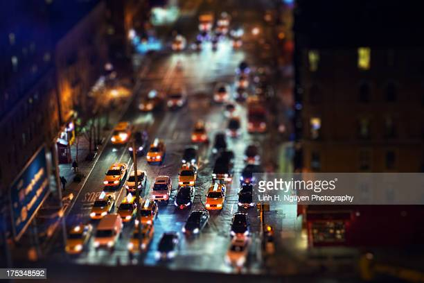 Yellow cabs in New York at night