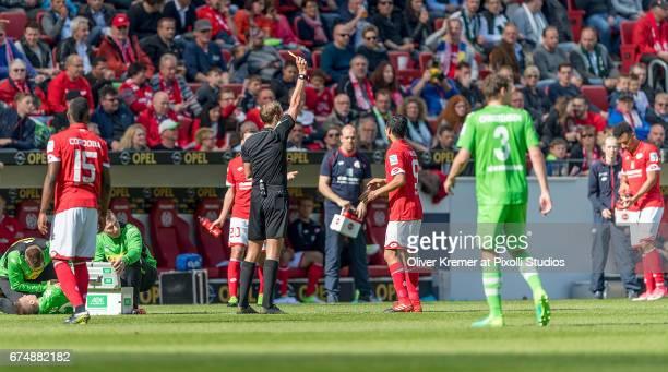 Yellow Card for Forward Yoshinori Muto of FSV Mainz 05 after a foul during the 1 Bundesliga match between 1 FSV Mainz 05 and Borussia...