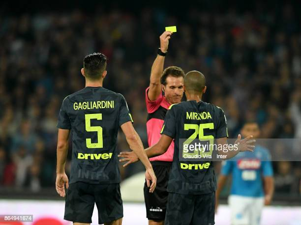 Yellow card for Joao Miranda de Souza Filho of FC Internazionale during the Serie A match between SSC Napoli and FC Internazionale at Stadio San...