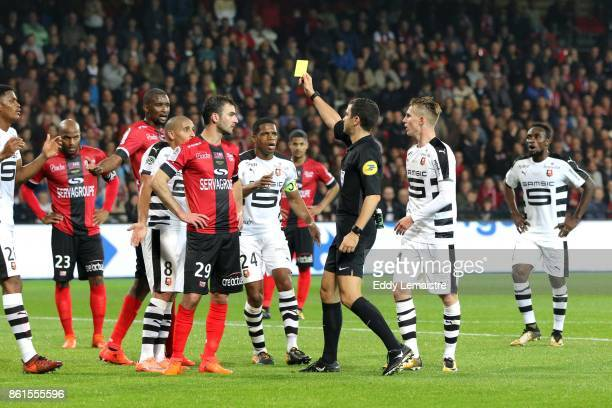 Yellow card for Wahbi Khazri of Rennes during the Ligue 1 match between EA Guingamp and Stade Rennais at Stade du Roudourou on October 14 2017 in...