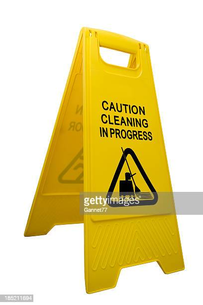 A yellow caution cleaning sign against a white background.