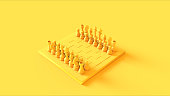 Yellow Chess Board and Pieces 3d illustration