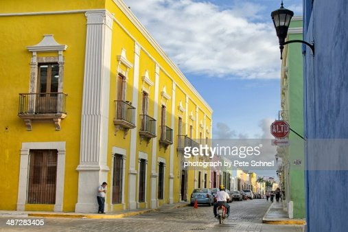 Yellow colonial in Campeche, Mexico