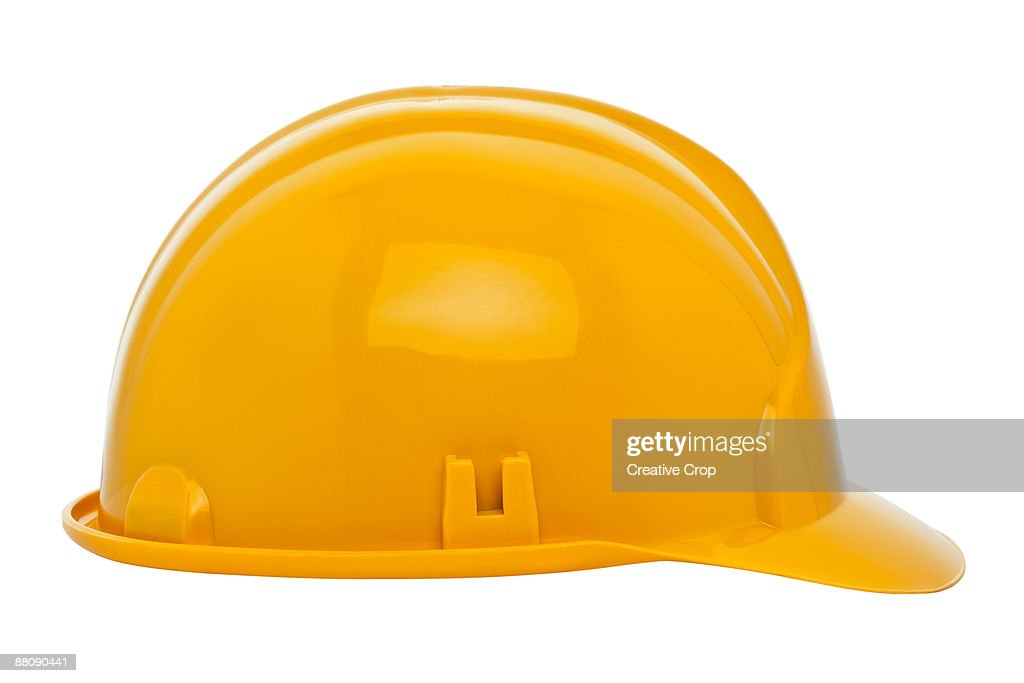 Yellow construction workers safety helmet