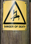 yellow danger of death sign on wooden post; UK