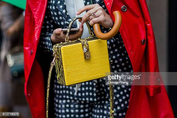 A yellow Dolce Gabbana bag seen outside Blumarine during Milan Fashion Week Fall/Winter 2016/17 on February 27 2016 in Milan Italy