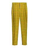 Yellow elegant checked retro trousers isolated white